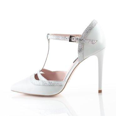Pantofi piele alba cu argintiu Alicante