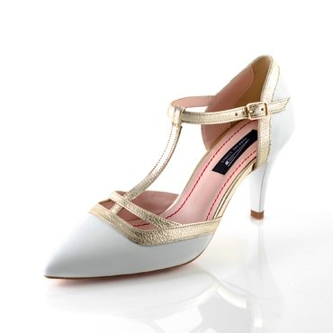 Pantofi piele alba cu auriu Lara