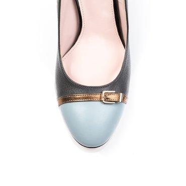 Pantofi piele bleu cu gri Dali cu bareta