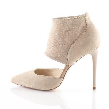 Pantofi piele intoarsa nude Wow