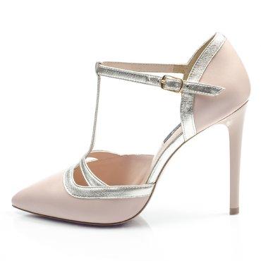 Pantofi piele roz cu auriu Alicante