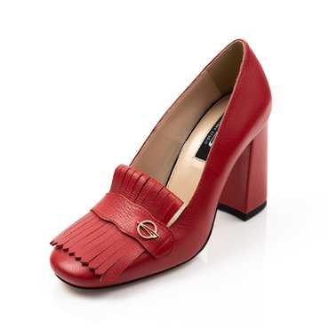 Pantofi rosii din piele naturala Ameli