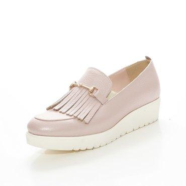 Pantofi roz din piele naturala Klara cu franjuri