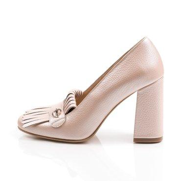 Pantofi roz perlat din piele naturala Ameli cu franjuri
