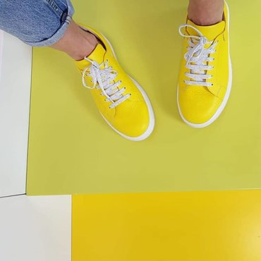 Pantofi sport casual galbeni din piele naturala Alesia