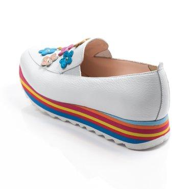 Pantofi sport piele alba Klara cu aplicatii florale