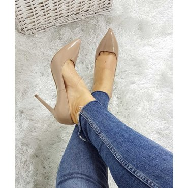 Pantofi stiletto lac bej Trend