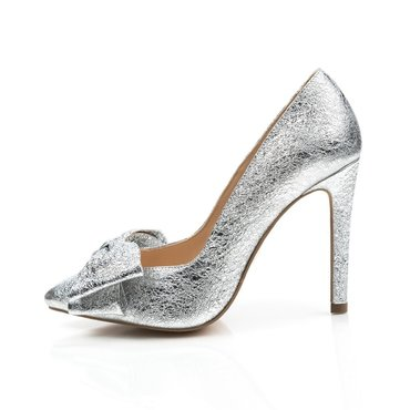 Pantofi stiletto trend Lady piele naturala argintie