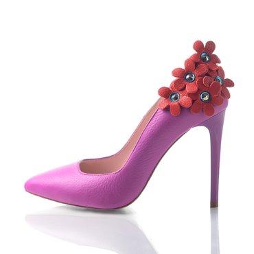 Pantofi stiletto trend piele fucsia Maya