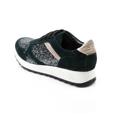 Pantofi verde cu glitter gri si detalii aurii din piele naturala Basi