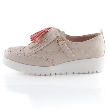 Pantofi Young Piele Nude cu Ciucuri Corai