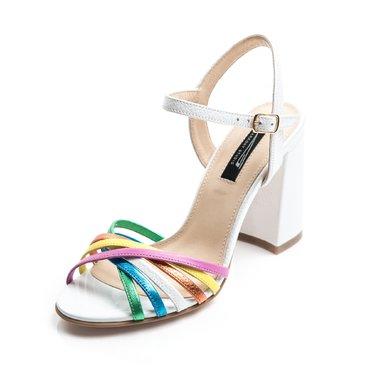 Sandale albe cu barete colorate din piele naturala Julie