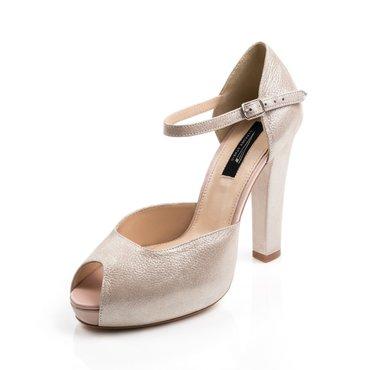 Sandale dama cu platou bej sidefat din piele naturala Elle