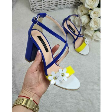 Sandale dama din piele naturala galben cu albastru Florans