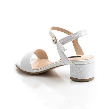 Sandale de dama din piele-naturala alb sidef Mado