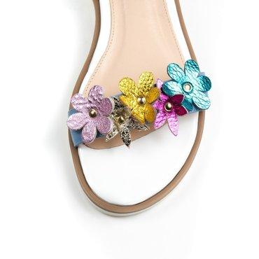 Sandale de dama din piele naturala albastra Fany Best cu flori