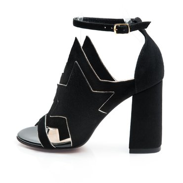 Sandale de dama Party piele intoarsa neagra