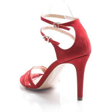 Sandale de ocazie Lora piele intoarsa rosie
