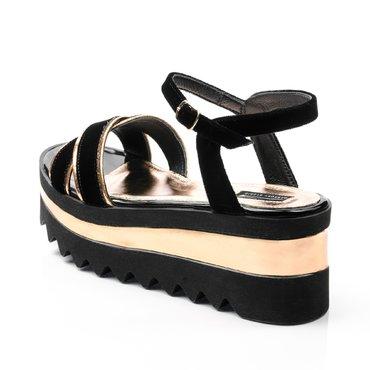 Sandale din catifea neagra cu aramiu Relly