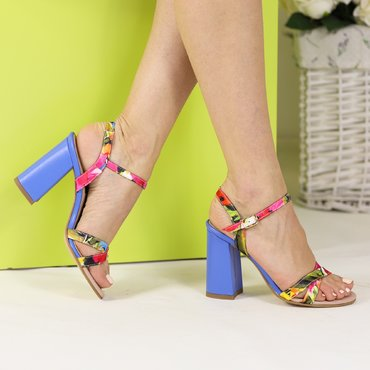Sandale din material textil cu imprimeu floral colorat Diana