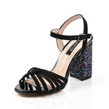 Sandale din piele naturala negre cu toc gliter color Julie