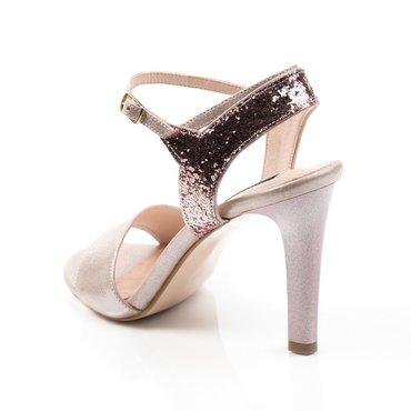 Sandale din piele naturala roz cu glitter Pamela