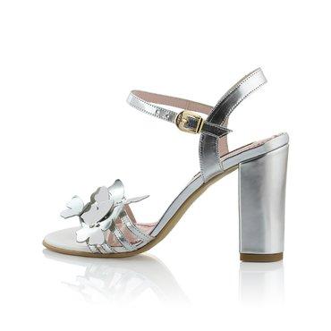 Sandale Laminat Argintiu cu Fluturi Celeste