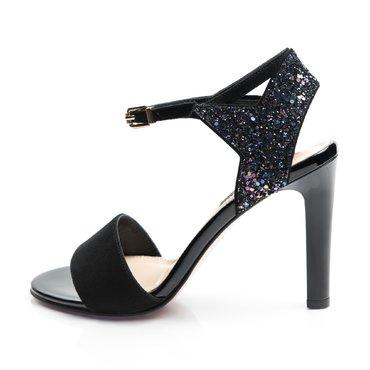 Sandale negre din piele naturala cu glitter Pamela