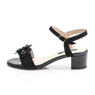 Sandale piele camoscio negru Mado cu floricele