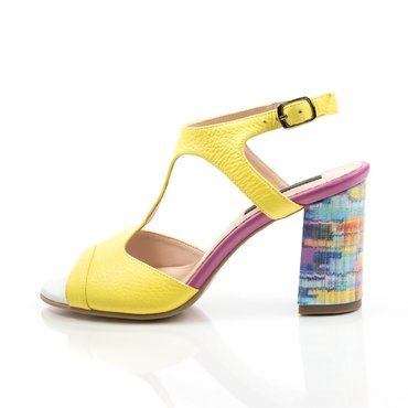 Sandale piele naturala galbene Berta