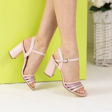 Sandale piele naturala roz Rubin