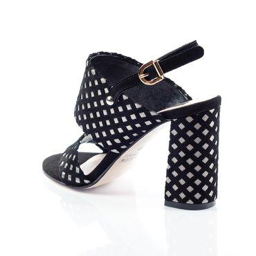 Sandale piele neagra cu argintiu Loca