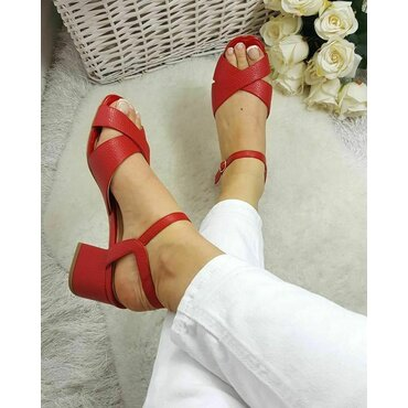 Sandale piele rosie Malvina