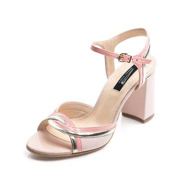 Sandale piele roz pal cu somon si auriu Frida