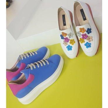 Sneakers din piele natura albastra Koli