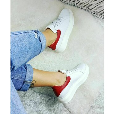 Sneakers din piele naturala alb cu rosu Koli