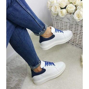 Sneakers din piele naturala alba Koli