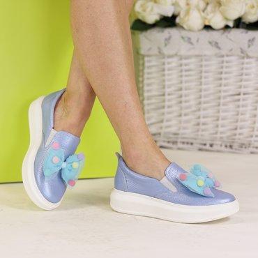 Sneakers din piele naturala bleo cu funda Eveline
