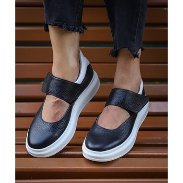 Sneakers din piele naturala neagra Lara