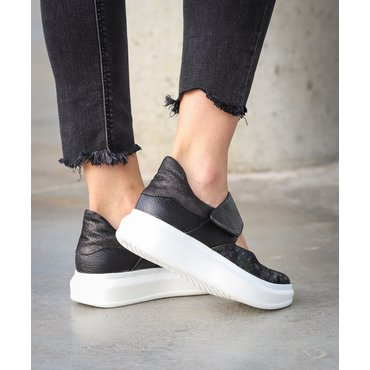 Sneakers din piele naturala neagrasi imprimeu Lara