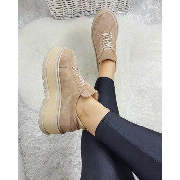Sneakers platform din piele naturala bej Levi 6011