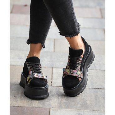 Sneakers platform din piele naturala neagra si imprimeu Basta