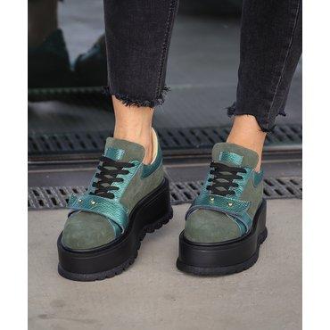 Sneakers platform din piele naturala verde Basta