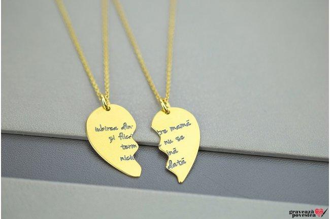 NOI DOI Set 2 coliere SPLIT HEART 21mm TEXT placate cu aur