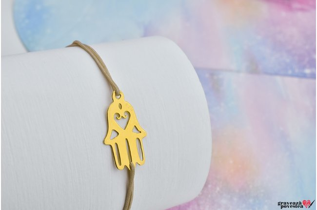 Bratara THE HAMSA HAND 13mm placata cu aur