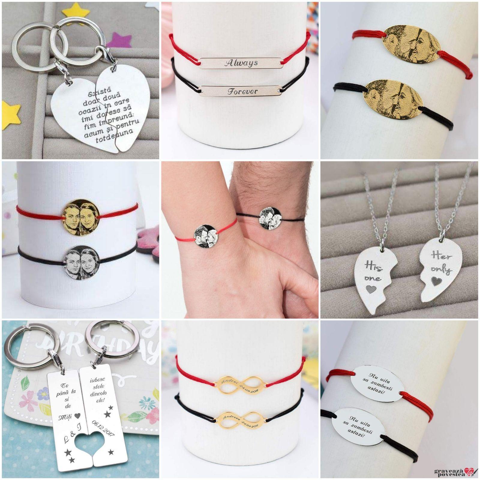 Seturi de bijuterii personalizate pentru cupluri