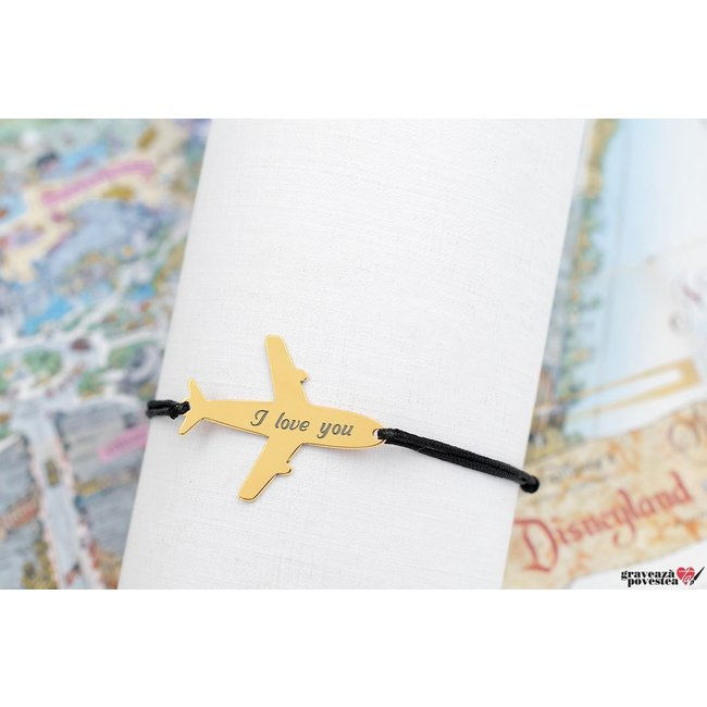 Bratara AIRPLANE 28mm TEXT placata cu aur