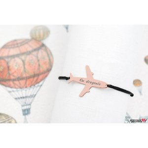 Bratara AIRPLANE 28mm TEXT placata cu aur roz