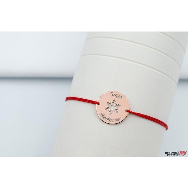 Bratara COIN SNOWFLAKE 17mm TEXT placata cu aur roz