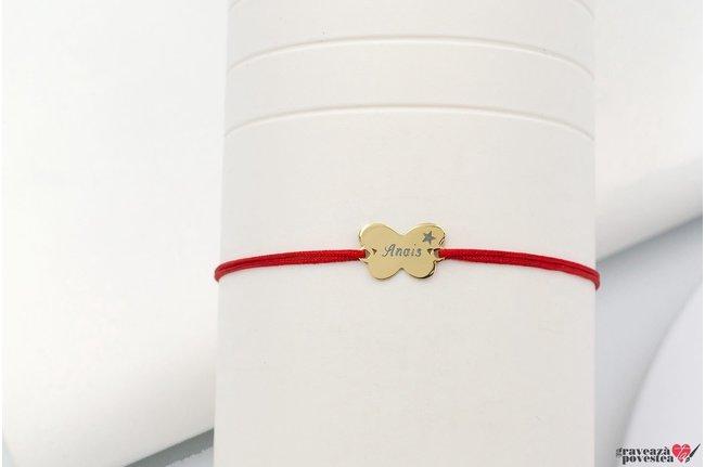 Bratara BABY BUTTERFLY 12mm GOLD 14K TEXT